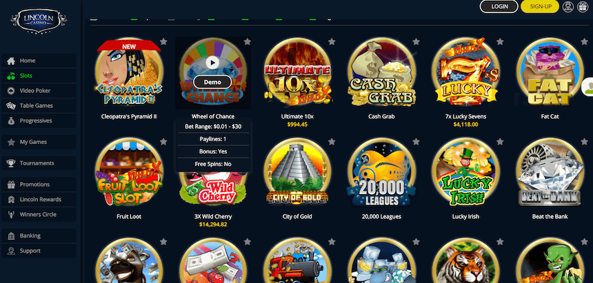 Lincoln Online Casino Slots
